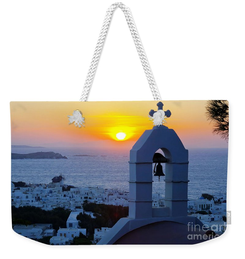 Mykonos Weekender Tote Bag featuring the photograph 0209 Mykonos Sunset by Steve Sturgill