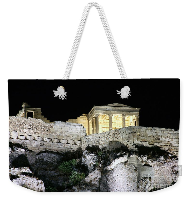 Historical Weekender Tote Bag featuring the photograph 0212 The Acropolis Athens Greece by Steve Sturgill