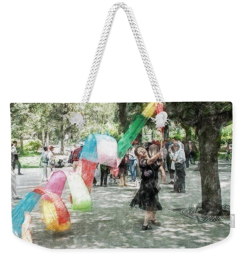 Asia Weekender Tote Bag featuring the digital art 0263-jingshan Park - Light Color Pencils Sl by David Lange