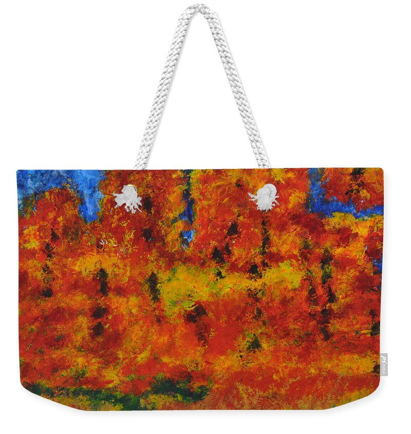 Abstract Weekender Tote Bag featuring the painting 032 Abstract Landscape by Chowdary V Arikatla