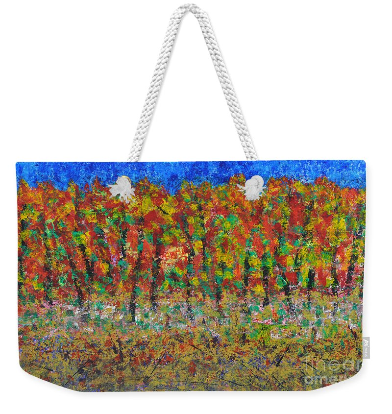 Acrylic Weekender Tote Bag featuring the painting 035 Fall Colors by Chowdary V Arikatla