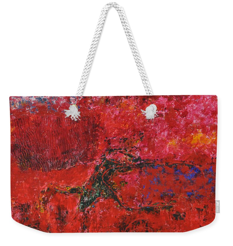 Abstract Weekender Tote Bag featuring the painting 045 Abstract Thought by Chowdary V Arikatla