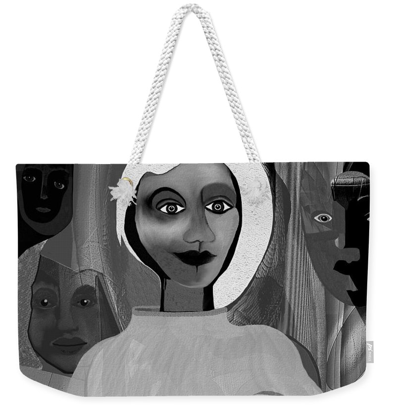 Woman Weekender Tote Bag featuring the painting 063 - Little Pregnant Bride ... by Irmgard Schoendorf Welch