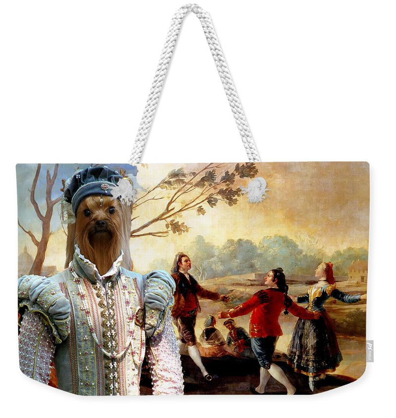 Yorkshire Terrier Weekender Tote Bag featuring the painting Yorkshire Terrier Art Canvas Print by Sandra Sij