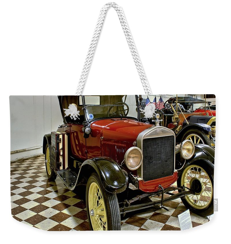 1926 Weekender Tote Bag featuring the photograph 1926 Ford Model T Roadster by Michael Gordon