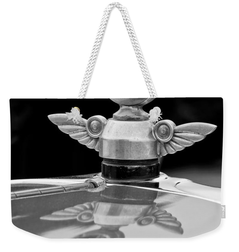 1927 Chandler 4-door Hood Ornament Weekender Tote Bag featuring the photograph 1927 Chandler 4-door Hood Ornament by Jill Reger