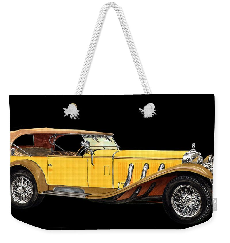 Classic Car Art Weekender Tote Bag featuring the painting Mercedes Benz Ss Tourer by Jack Pumphrey