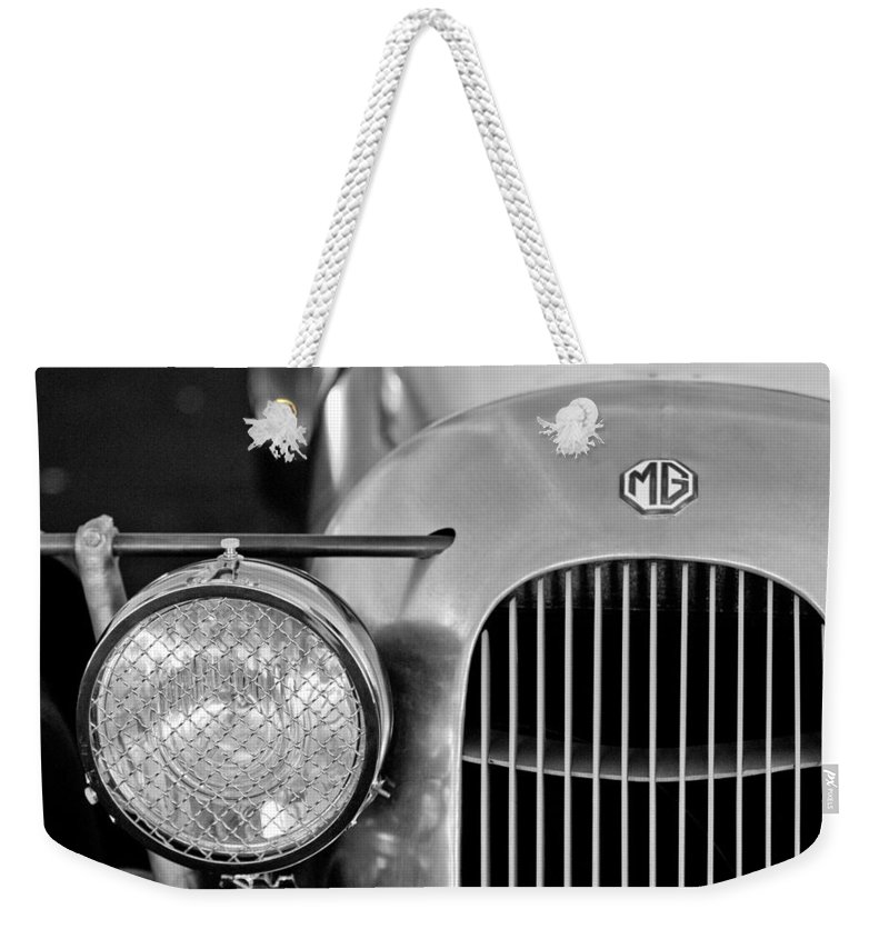 1934 Mg Pa Midget Supercharged Special Speedster Grille Weekender Tote Bag featuring the photograph 1934 Mg Pa Midget Supercharged Special Speedster Grille by Jill Reger