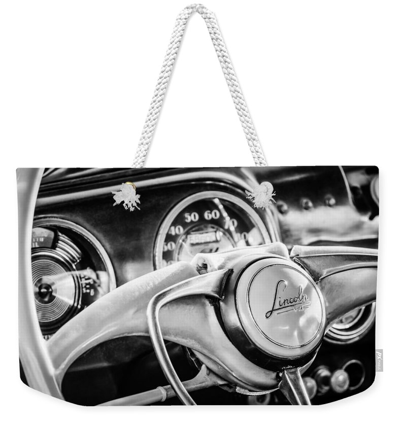 1941 Lincoln Continental Coupe Steering Wheel Emblem Weekender Tote Bag featuring the photograph 1941 Lincoln Continental Coupe Steering Wheel Emblem -0858c by Jill Reger