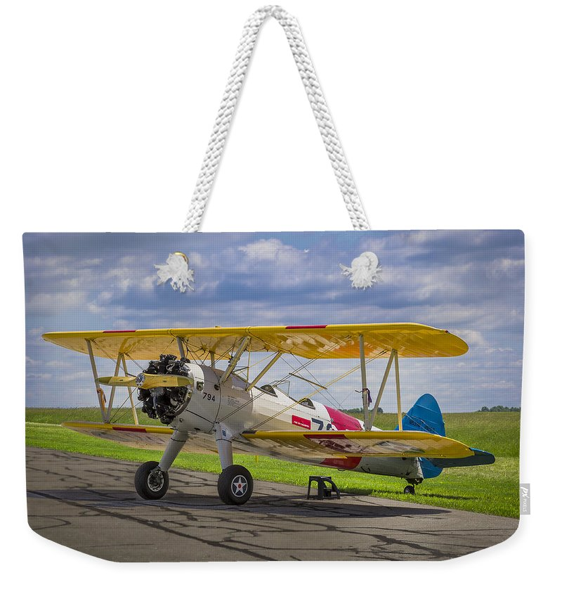 1943 Weekender Tote Bag featuring the photograph 1943 Boeing Stearman by Jack R Perry