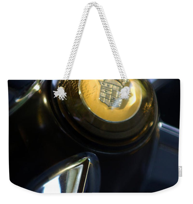 1947 Cadillac Model 62 Coupe Steering Wheel Weekender Tote Bag featuring the photograph 1947 Cadillac Model 62 Coupe Steering Wheel by Jill Reger