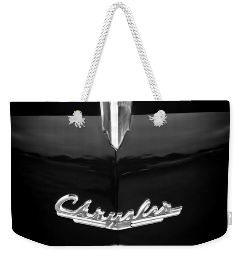 1949 Chrysler Town And Country Convertible Hood Ornament And Emblems Weekender Tote Bag featuring the photograph 1949 Chrysler Town And Country Convertible Hood Ornament And Emblems by Jill Reger