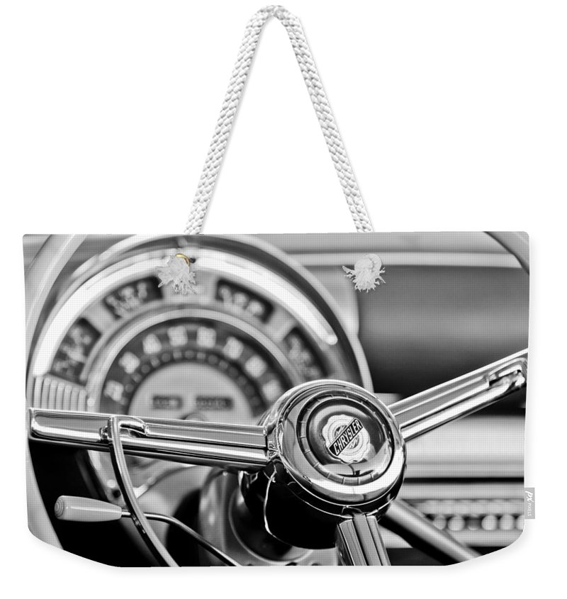 1949 Chrysler Town And Country Convertible Steering Wheel Emblem Weekender Tote Bag featuring the photograph 1949 Chrysler Town And Country Convertible Steering Wheel Emblem by Jill Reger