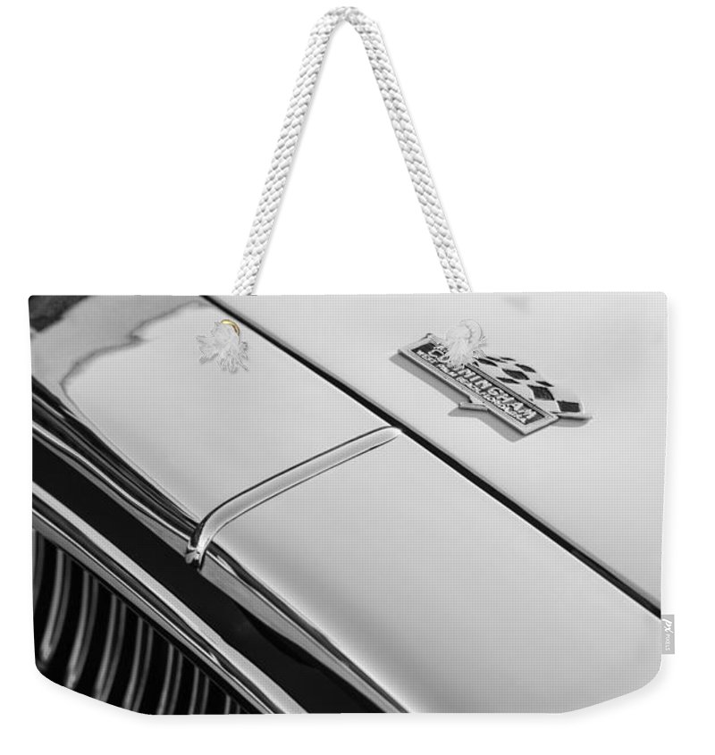 1952 Cunningham C-3 Coupe Hood Emblem Weekender Tote Bag featuring the photograph 1952 Cunningham C-3 Coupe Hood Emblem by Jill Reger