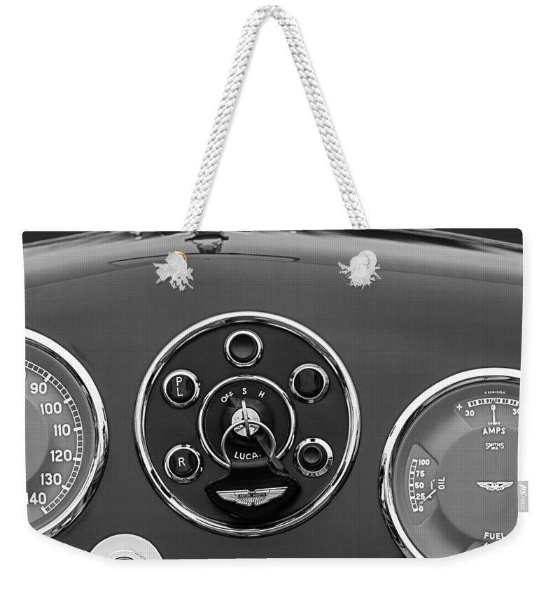 1953 Aston Martin Db2/4 Bertone Roadster Instrument Panel Weekender Tote Bag featuring the photograph 1953 Aston Martin Db2-4 Bertone Roadster Instrument Panel by Jill Reger