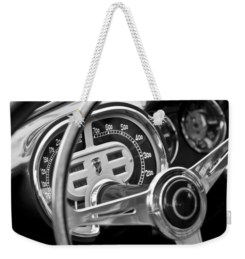 1953 Fiat 8v Ghia Supersonic Steering Wheel Weekender Tote Bag featuring the photograph 1953 Fiat 8v Ghia Supersonic Steering Wheel by Jill Reger