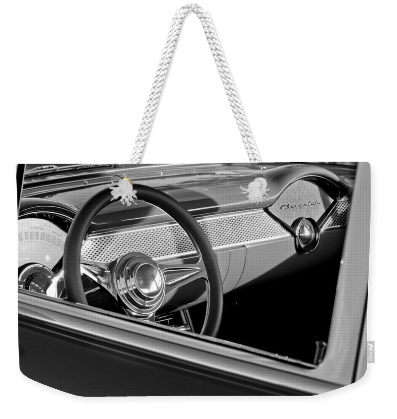 1955 Chevrolet 210 Steering Wheel Weekender Tote Bag featuring the photograph 1955 Chevrolet 210 Steering Wheel by Jill Reger