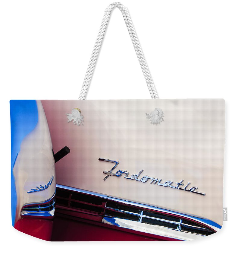 1955 Ford Crown Victoria Fordomatic Emblem Weekender Tote Bag featuring the photograph 1955 Ford Crown Victoria Fordomatic Emblem by Jill Reger