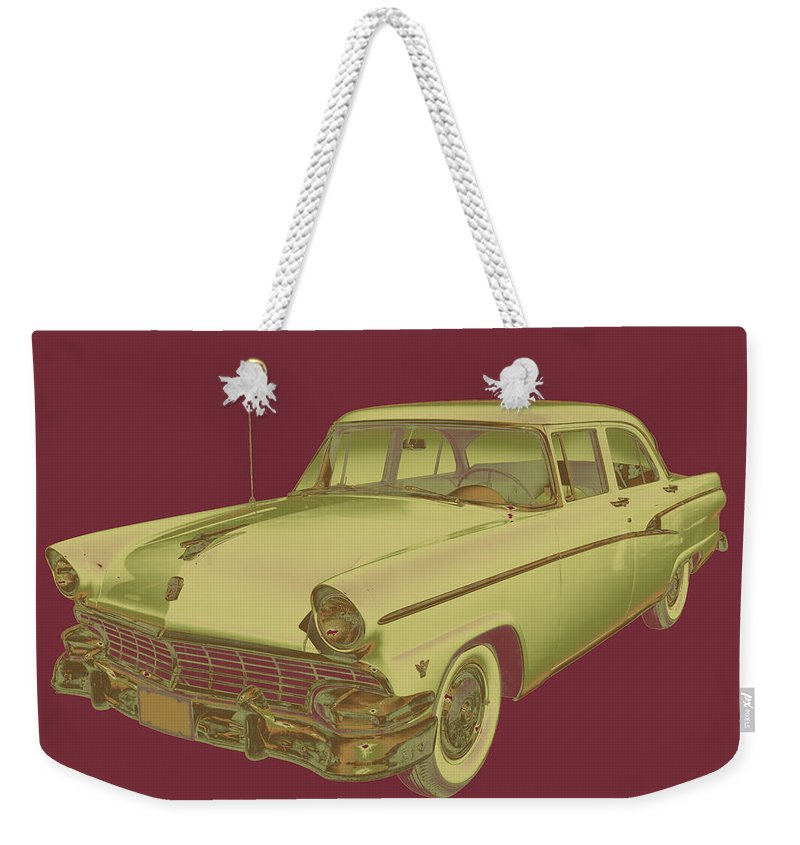 1956 Ford Custom Line Weekender Tote Bag featuring the photograph 1956 Ford Custom Line Antique Car Pop Art by Keith Webber Jr