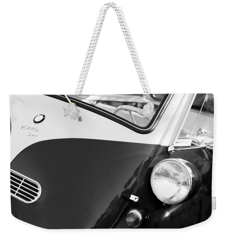 1957 Bmw Isetta 300 Weekender Tote Bag featuring the photograph 1957 Bmw Isetta 300 by Jill Reger