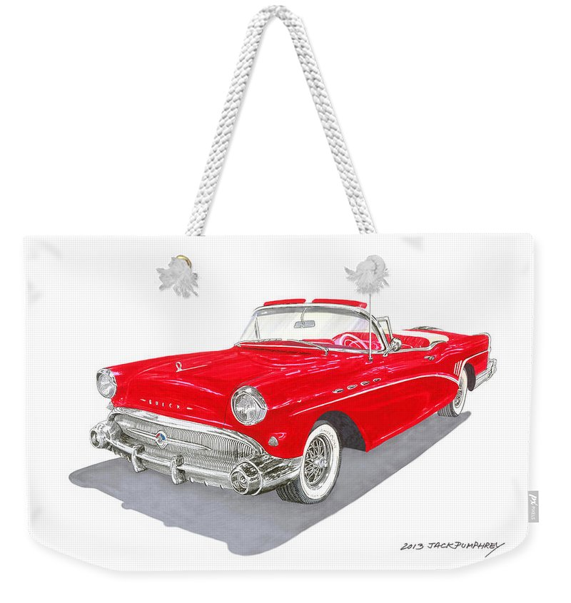 Classic Car Art Weekender Tote Bag featuring the painting 1957 Buick Special Convertible by Jack Pumphrey