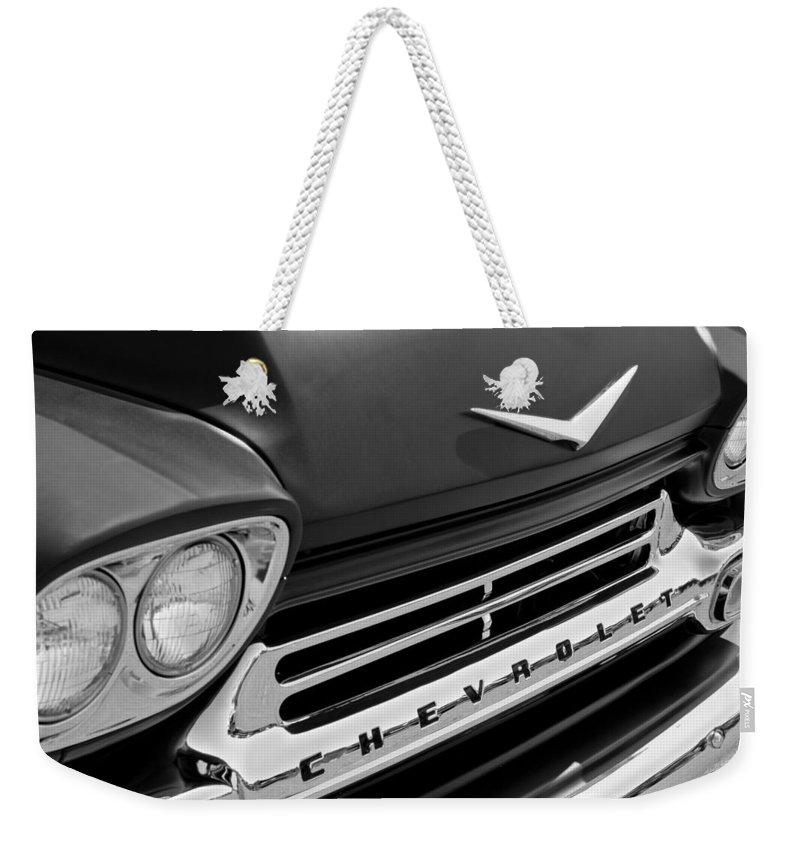 1959 Chevrolet Apache Front End Weekender Tote Bag featuring the photograph 1959 Chevrolet Apache Front End by Jill Reger