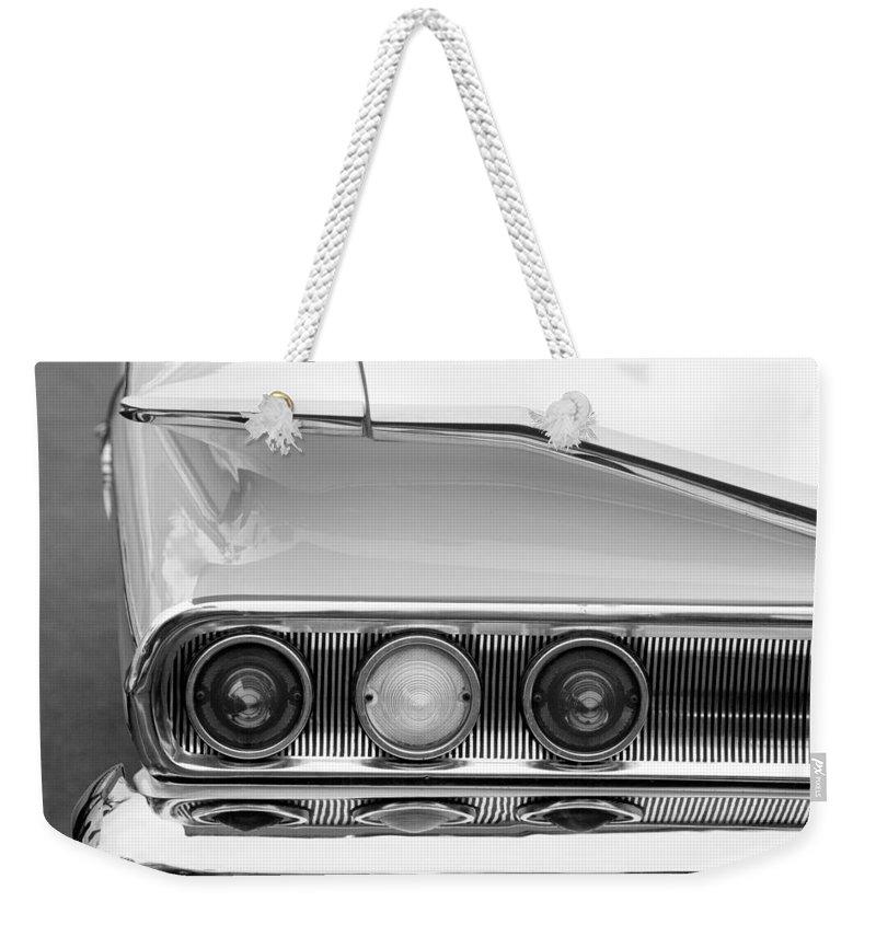1960 Chevrolet Impala Tail Lights Weekender Tote Bag featuring the photograph 1960 Chevrolet Impala Tail Lights by Jill Reger