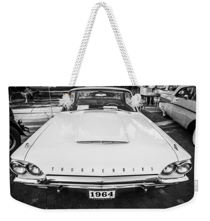 1964 Ford Thunderbird Weekender Tote Bag featuring the photograph 1964 Ford Thunderbird Painted Bw by Rich Franco
