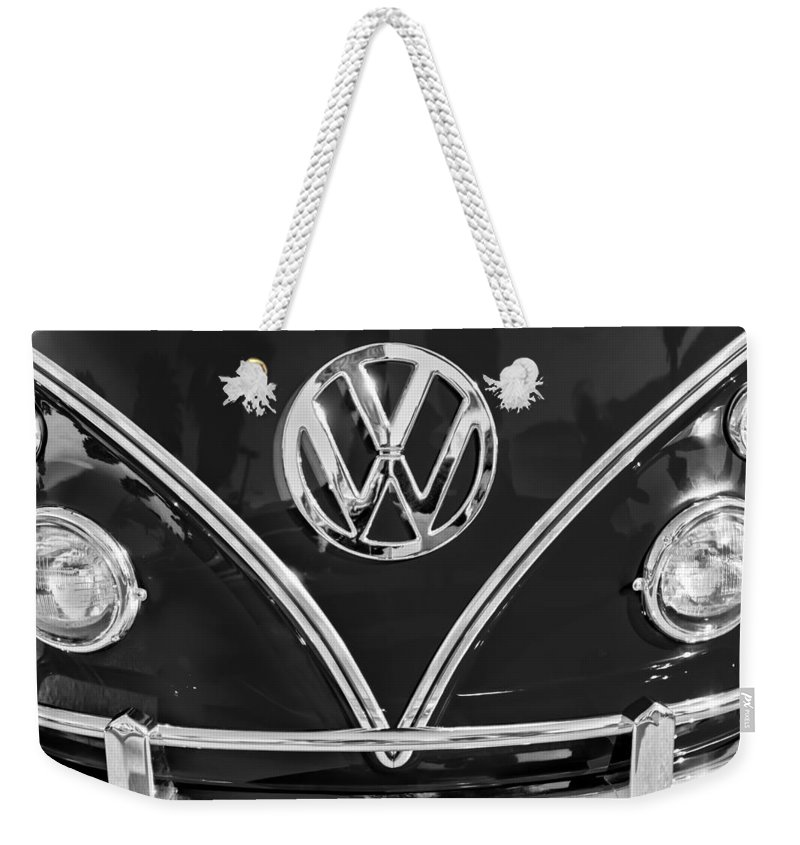 1964 Volkswagen Vw Double Cab Emblem Weekender Tote Bag featuring the photograph 1964 Volkswagen Vw Double Cab Emblem by Jill Reger