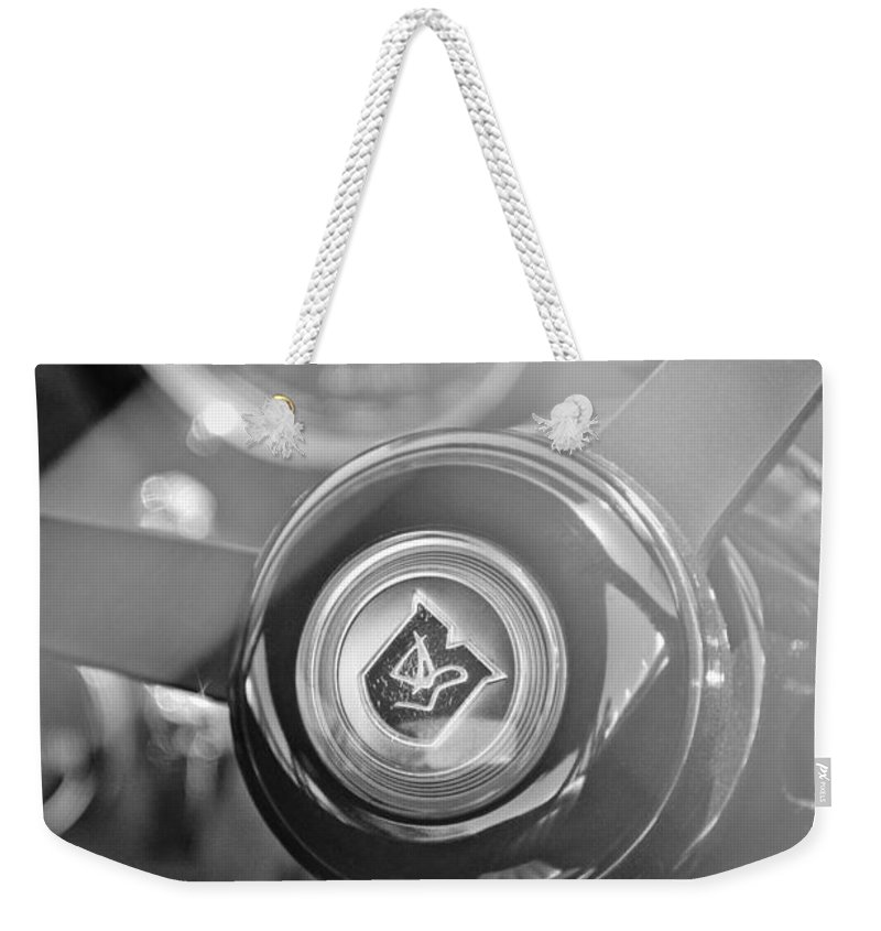1965 Aston Martin Db5 Coupe Rhd Steering Wheel Weekender Tote Bag featuring the photograph 1965 Aston Martin Db5 Coupe Rhd Steering Wheel by Jill Reger