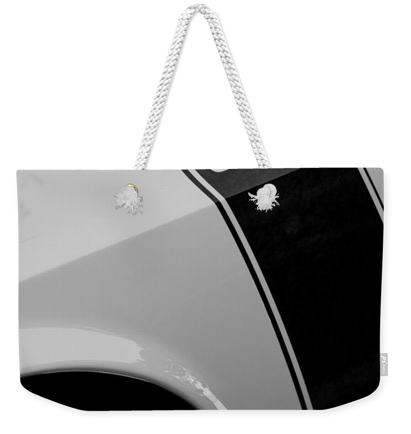 1970 Ford Mustang Sportsroof Boss 302 Emblem Weekender Tote Bag featuring the photograph 1970 Ford Mustang Sportsroof Boss 302 Emblem by Jill Reger