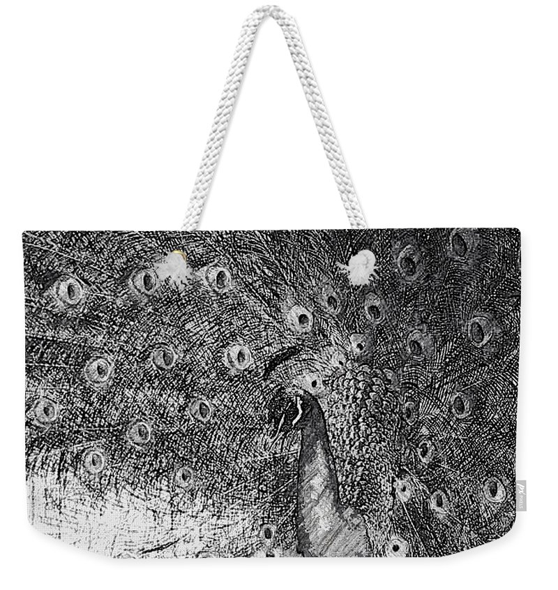Peacock Weekender Tote Bag featuring the photograph A Peacock's Feathers by Kathleen Odenthal