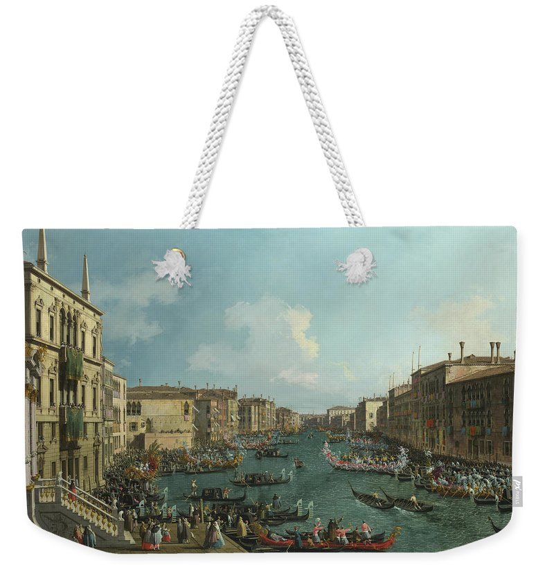 Canaletto Weekender Tote Bag featuring the painting A Regatta On The Grand Canal by Canaletto