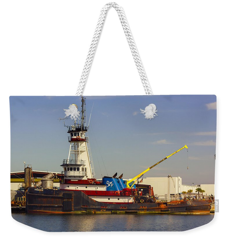 Tree Weekender Tote Bag featuring the photograph A Tough Old Tugboat by John M Bailey