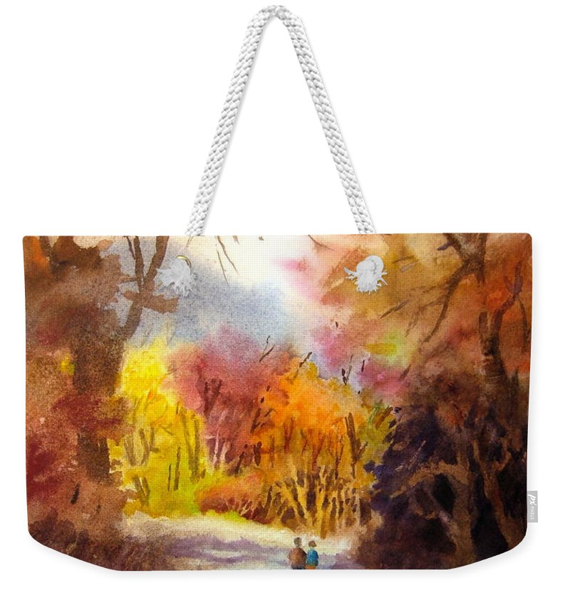 Fall Weekender Tote Bag featuring the painting A Walk In The Fall by Mohamed Hirji