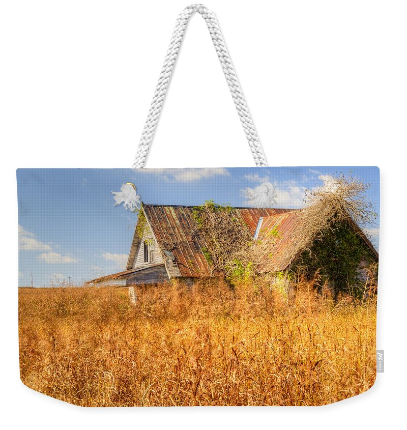 Abandoned Weekender Tote Bag featuring the photograph Abandoned Farmhouse In Field 3 by Douglas Barnett