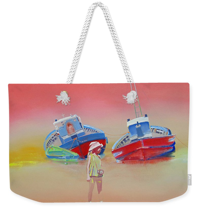 Abandoned Fishing Boats Weekender Tote Bag featuring the painting Abandoned Fishing Boats Tavira by Charles Stuart