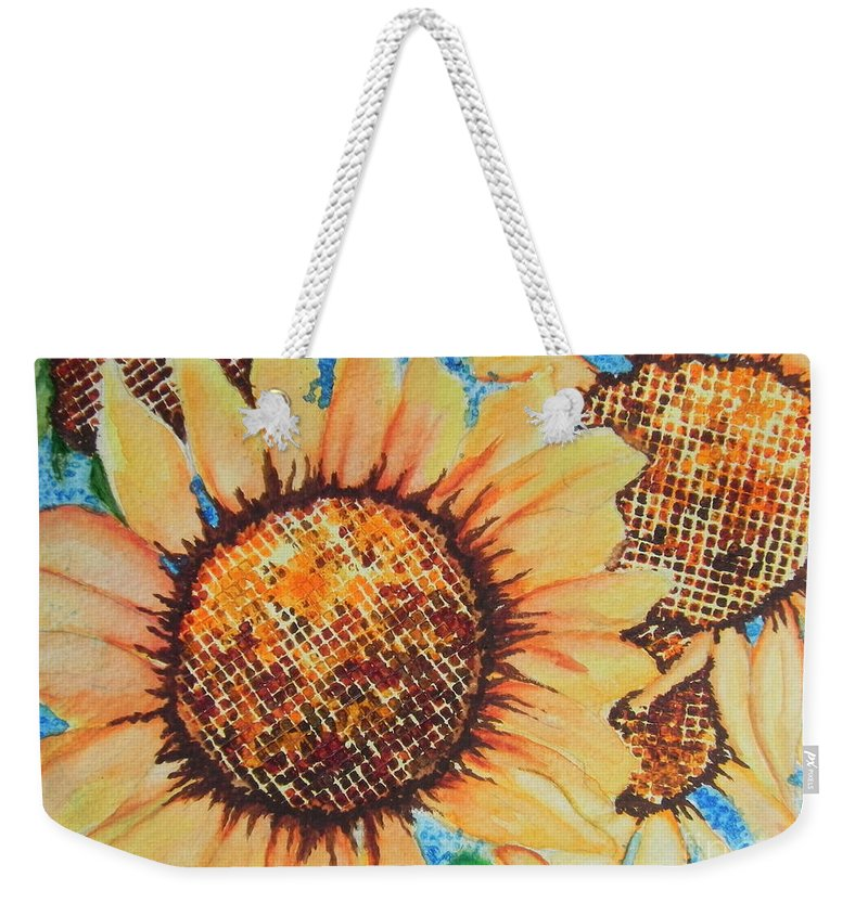Fine Art Painting Weekender Tote Bag featuring the painting Abstract Sunflowers by Chrisann Ellis