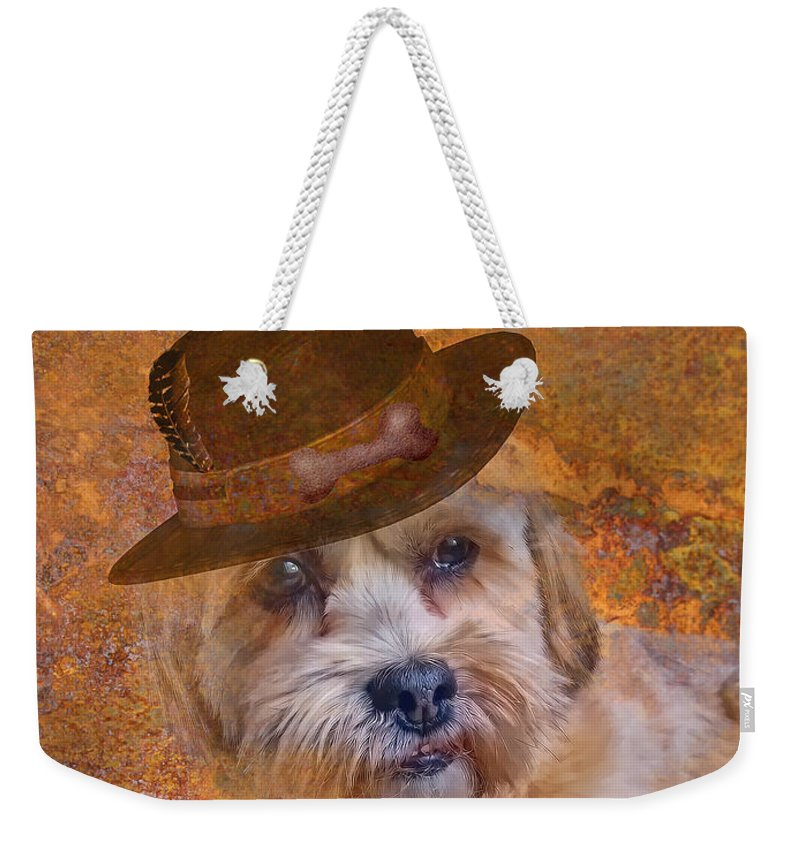 Dog Weekender Tote Bag featuring the digital art Adopted With Love by Kathy Tarochione