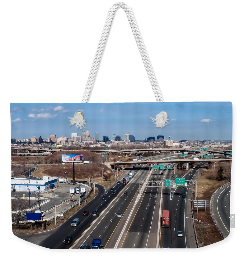 Aerial Weekender Tote Bag featuring the photograph Aerial Over Newark by Alex Grichenko