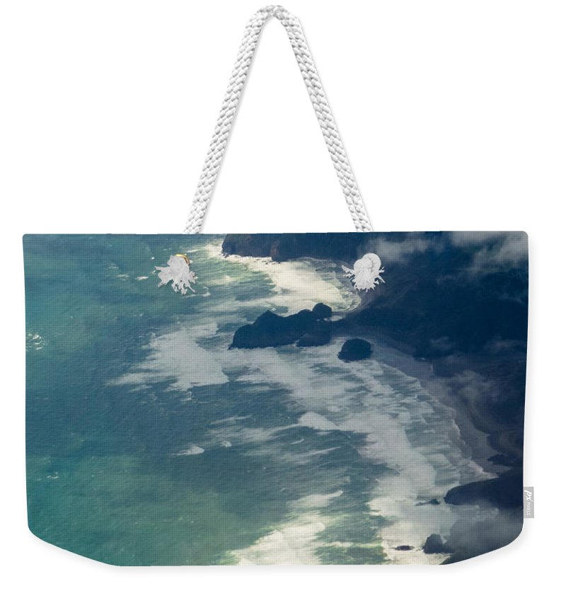 Tasman Sea Weekender Tote Bag featuring the photograph Aerial View Of Tasman Sea Shore Nz North Island by Stephan Pietzko
