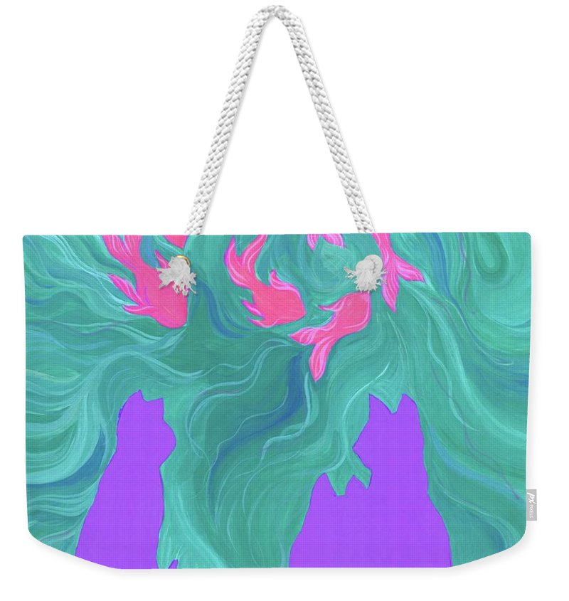 Cats Weekender Tote Bag featuring the painting Afternoon Delights by Lizi Beard-Ward