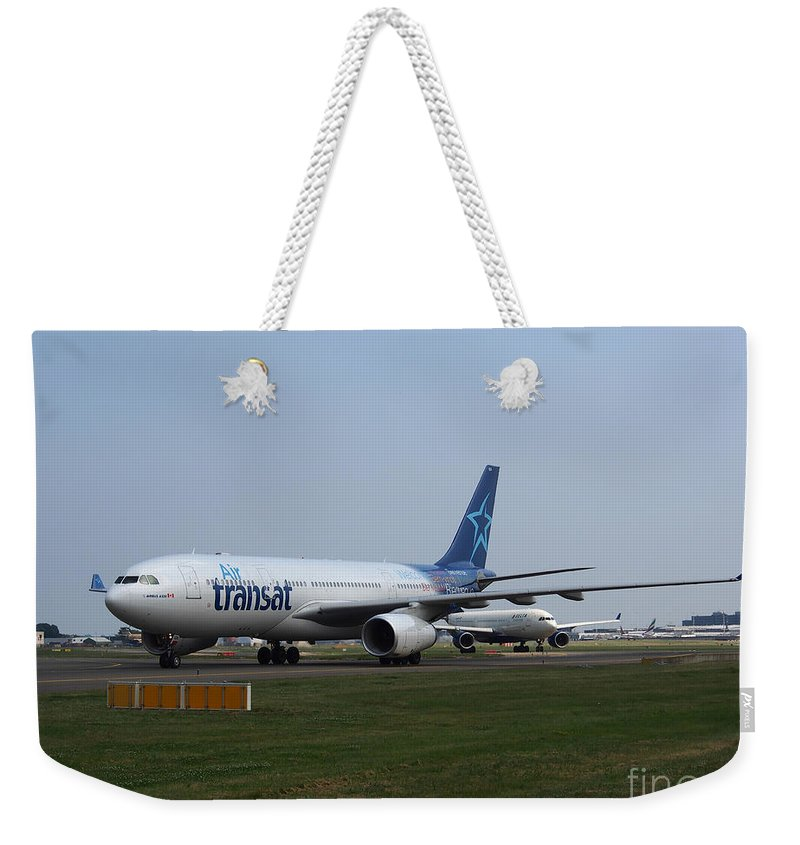737 Weekender Tote Bag featuring the photograph Air Transat Airbus A330 by Paul Fearn