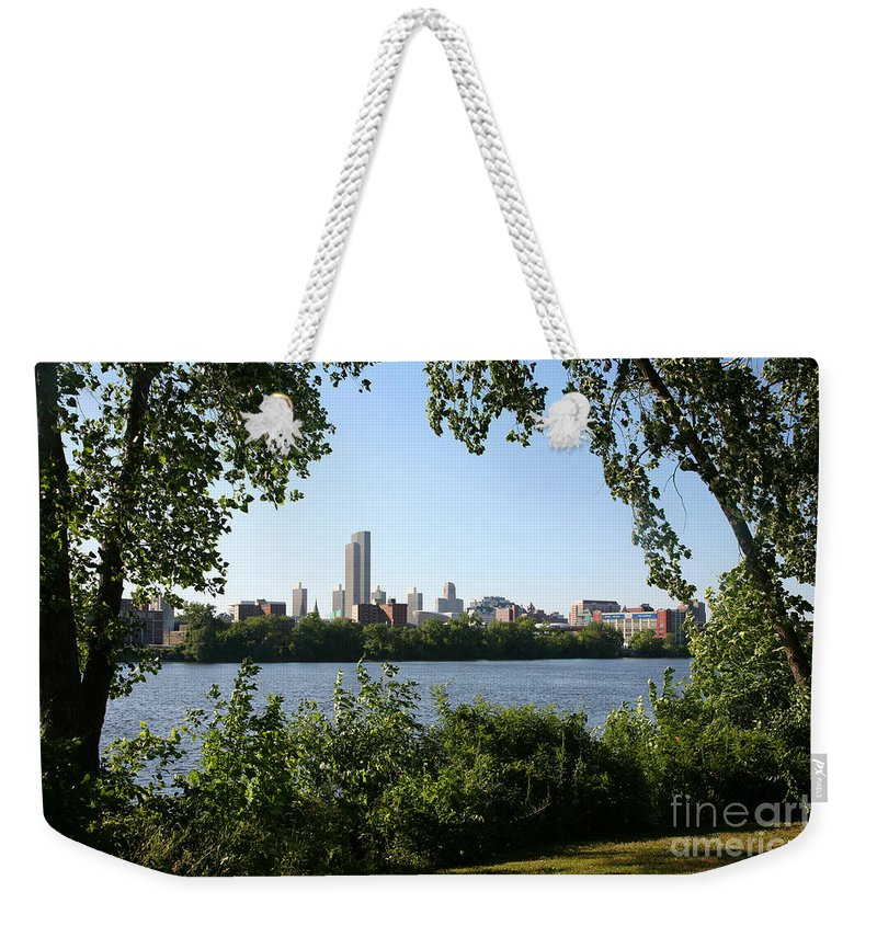 Empire State Plaza Weekender Tote Bag featuring the photograph Albany Skyline by Bill Cobb