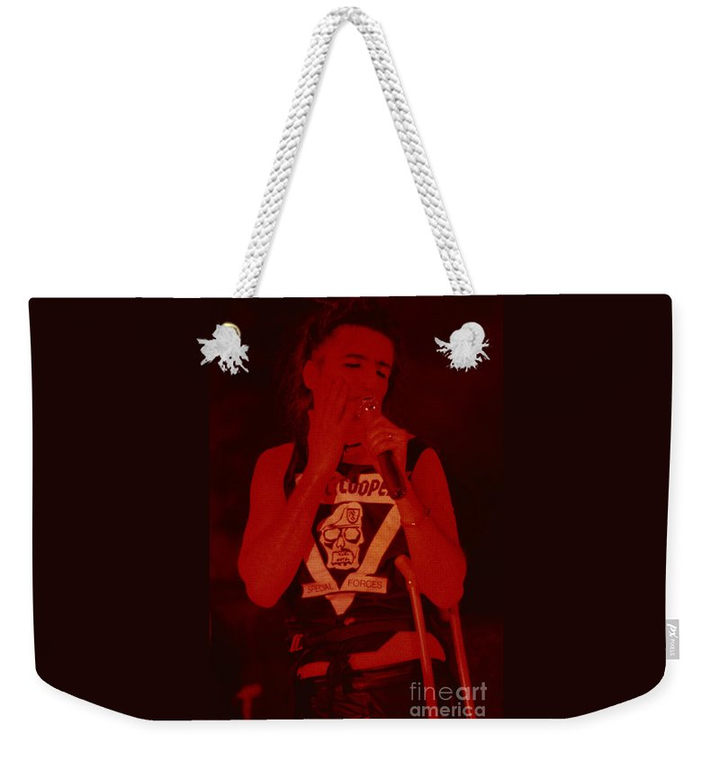 Alice Cooper Weekender Tote Bag featuring the photograph Alice Cooper At The Concord Pavillion by Daniel Larsen