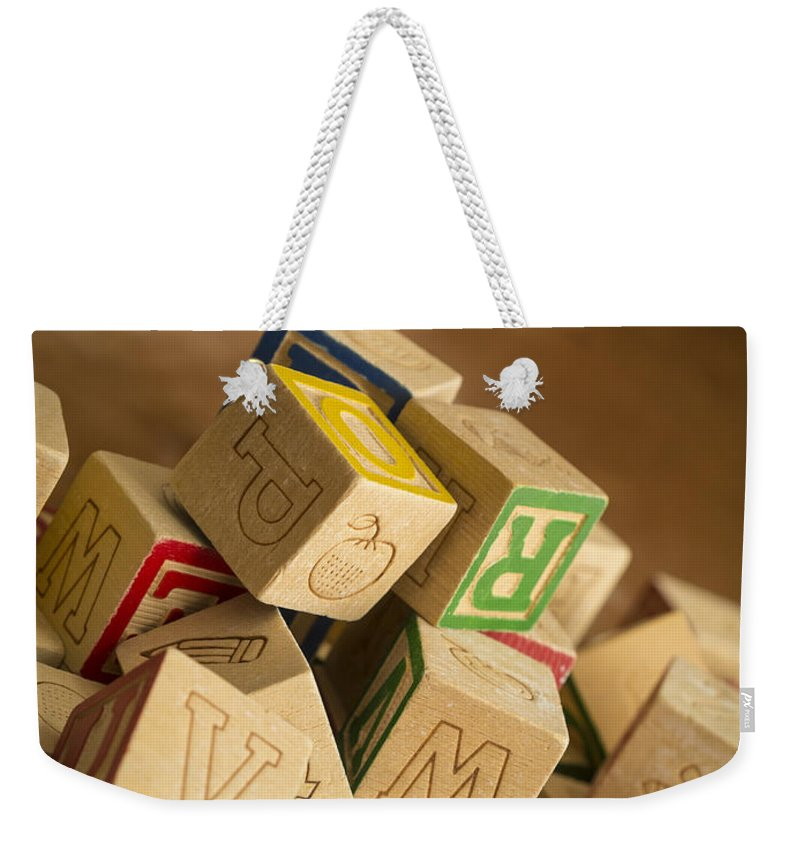 Toy Weekender Tote Bag featuring the photograph Alphabet Blocks by Edward Fielding