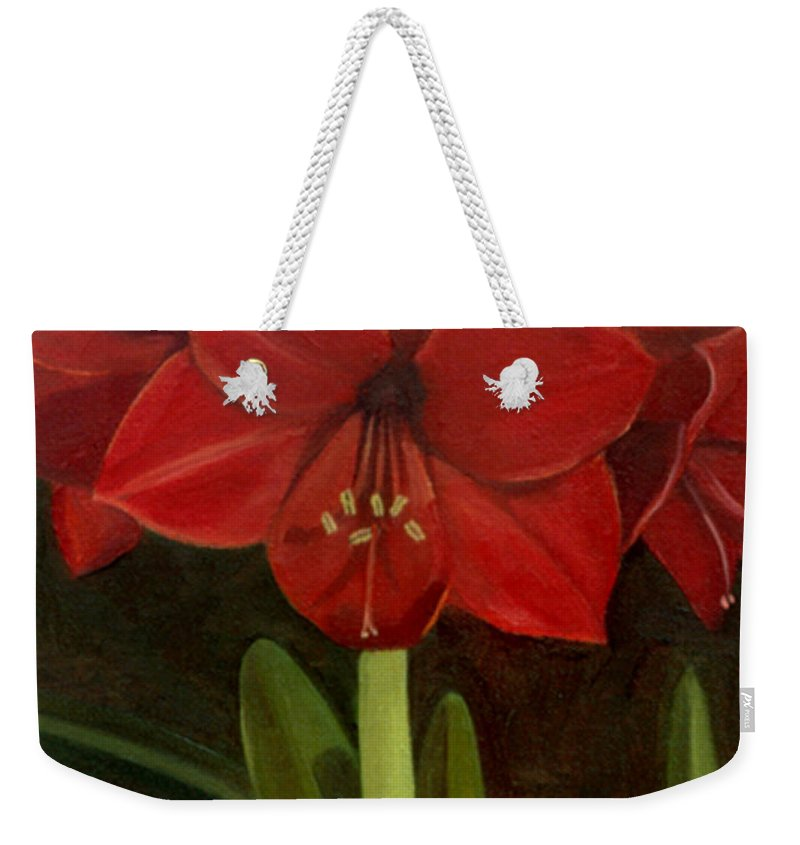 Amaryllis Weekender Tote Bag featuring the painting Amaryllis by Nancy Griswold