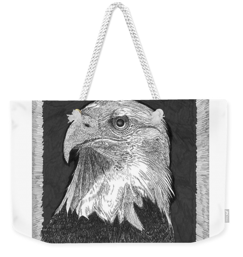 American Symbol Of Greatness Weekender Tote Bag featuring the drawing American Bald Eagle by Jack Pumphrey