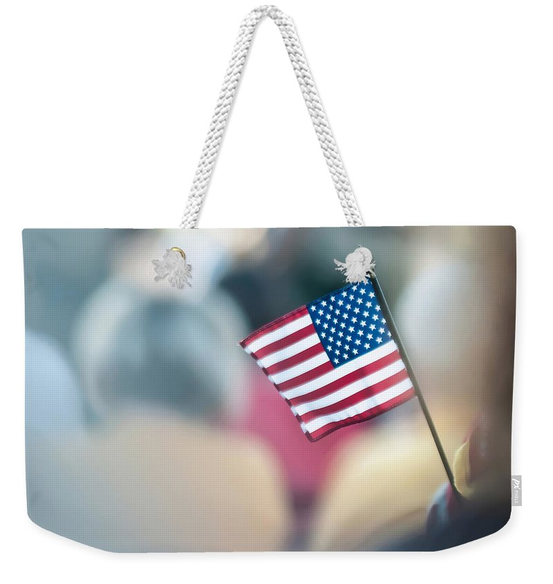 4th Weekender Tote Bag featuring the photograph American Flag by Alex Grichenko