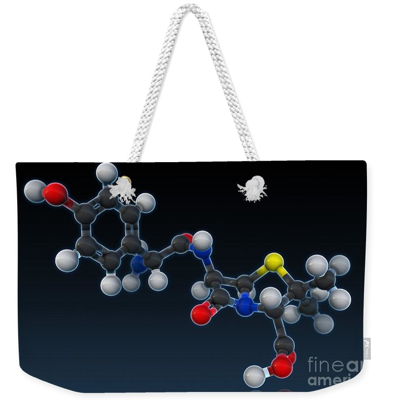 3d Illustration Weekender Tote Bag featuring the photograph Amoxicillin Molecular Model by Evan Oto